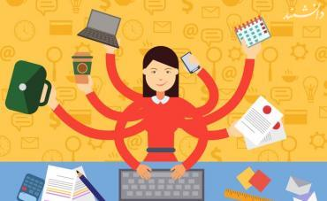 woman in multitasking situation vector